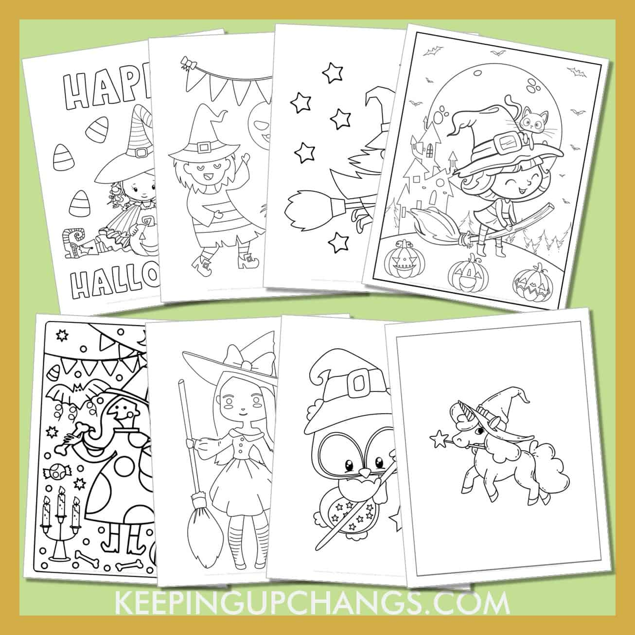 witch colouring sheets including cute cut out template for toddlers, preschool, happy halloween and more.