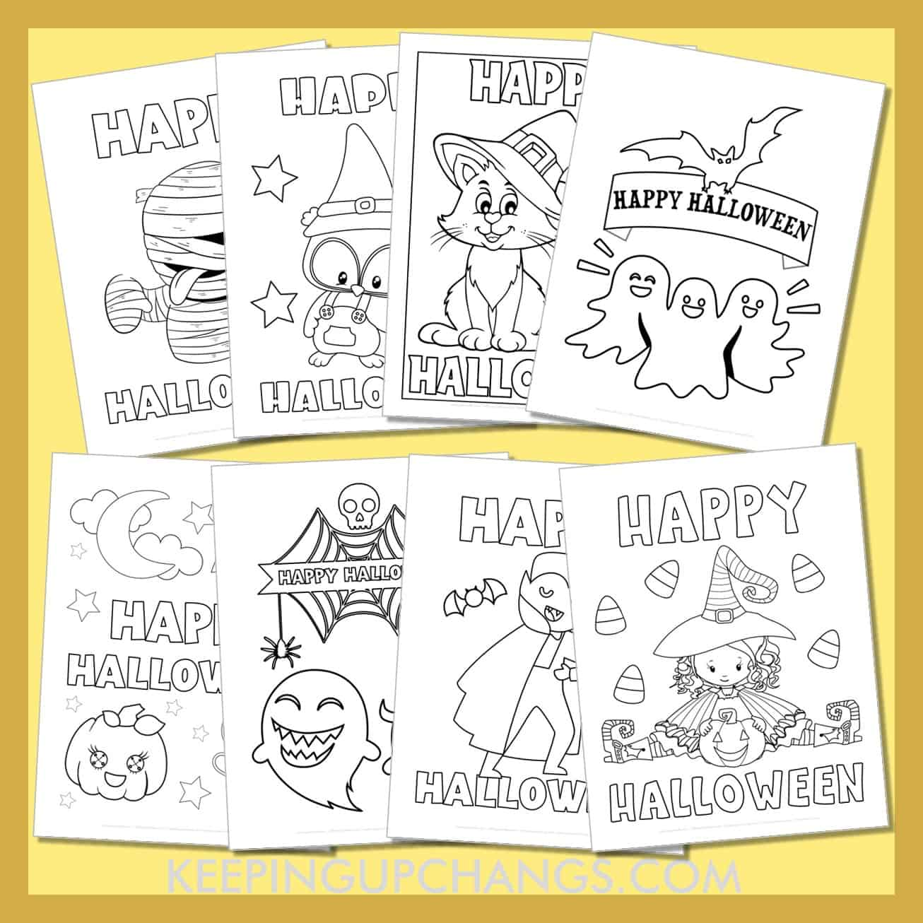 happy halloween colouring sheets including haunted house, pumpkin, witch, cat and more.