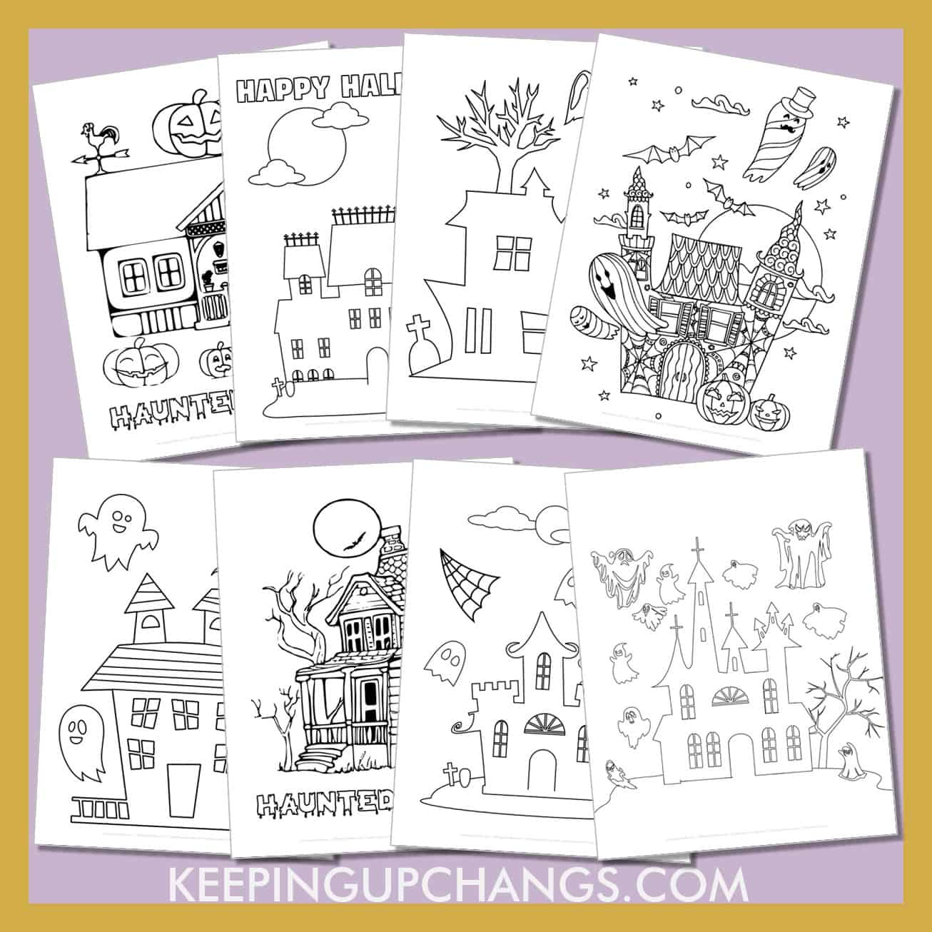 haunted house colouring sheets from easy, simple houses for kids to scary old vintage look.
