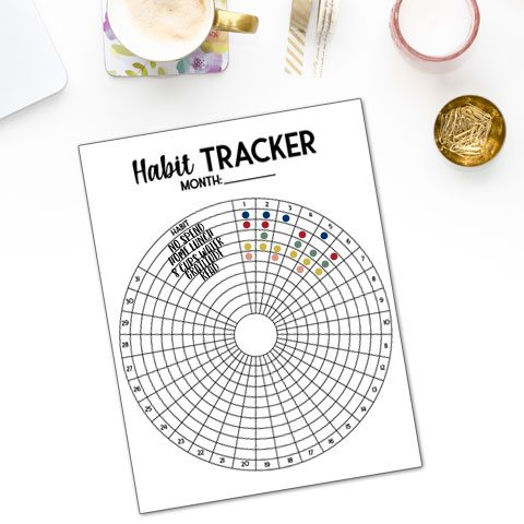 how to use free circle habit tracker printable colored in