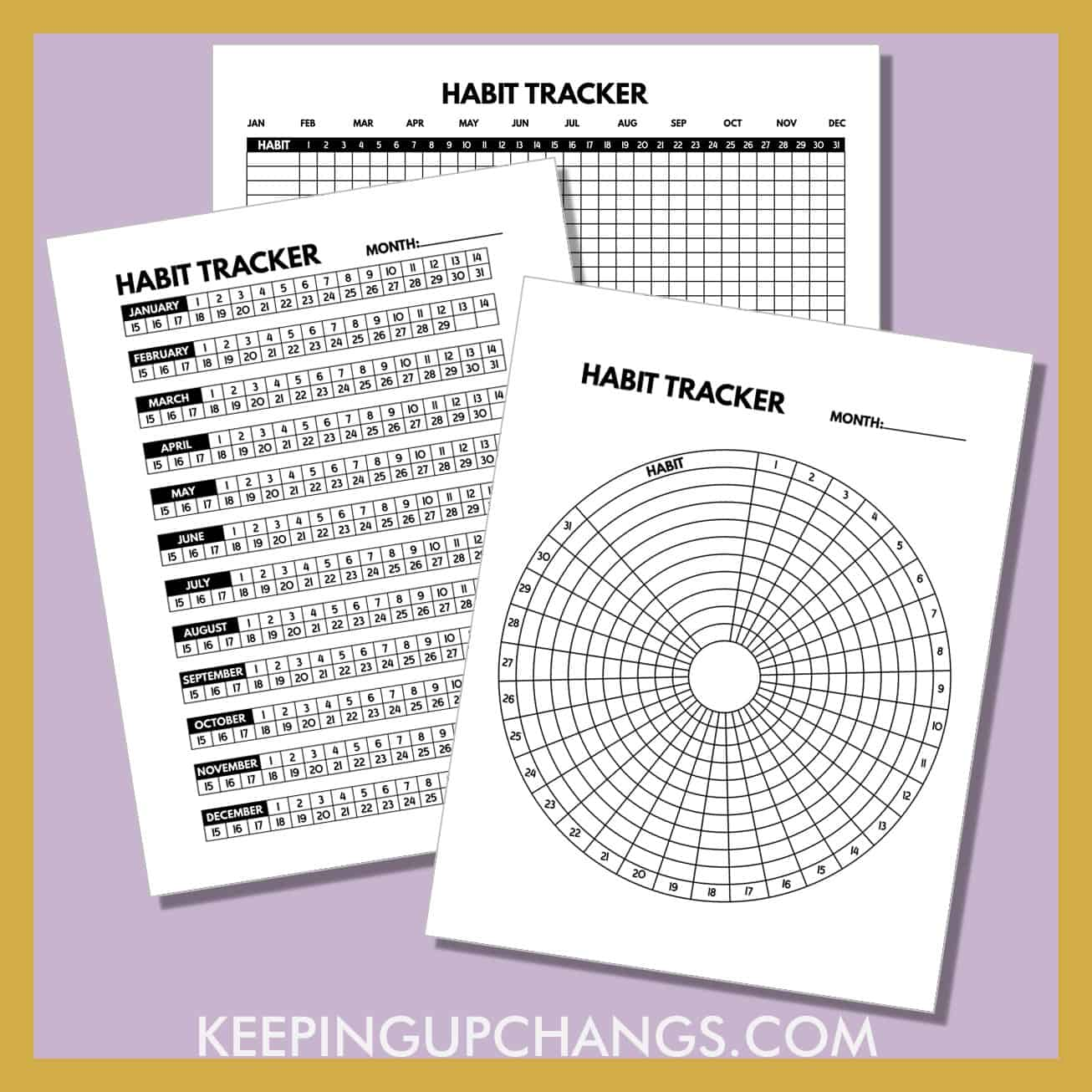 spread of habit tracker printables in minimalist black and white format.