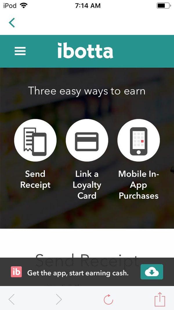 ibotta app ways to earn - receipt, loyalty card, in app purchase