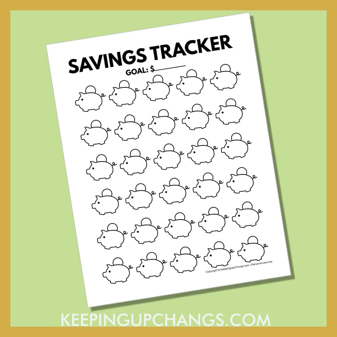 preview of free piggy bank printable with 30 mini banks to track monthly goal.