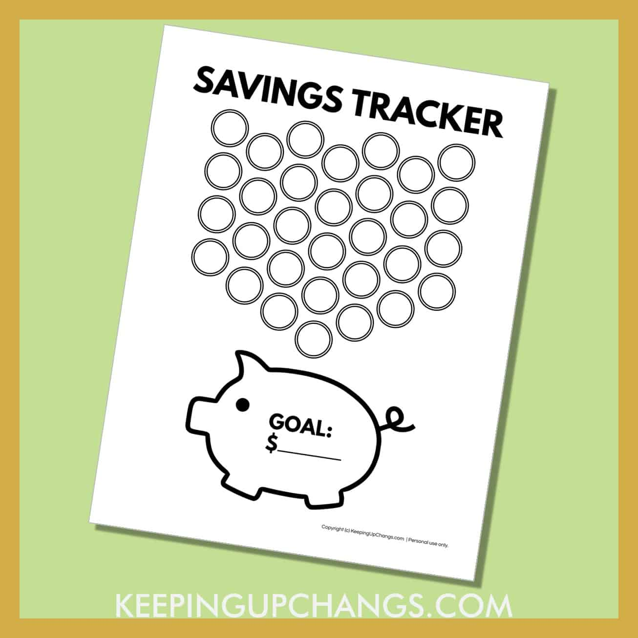 preview of free piggy bank printable with 31 coins dropping into piggy bank with money goal.
