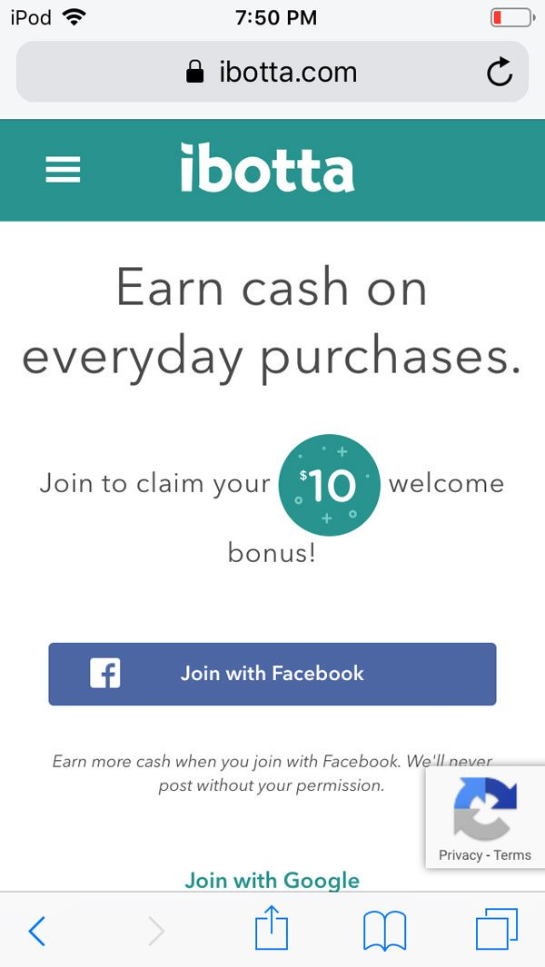 ibotta app review screenshot - welcome bonus referral promo code