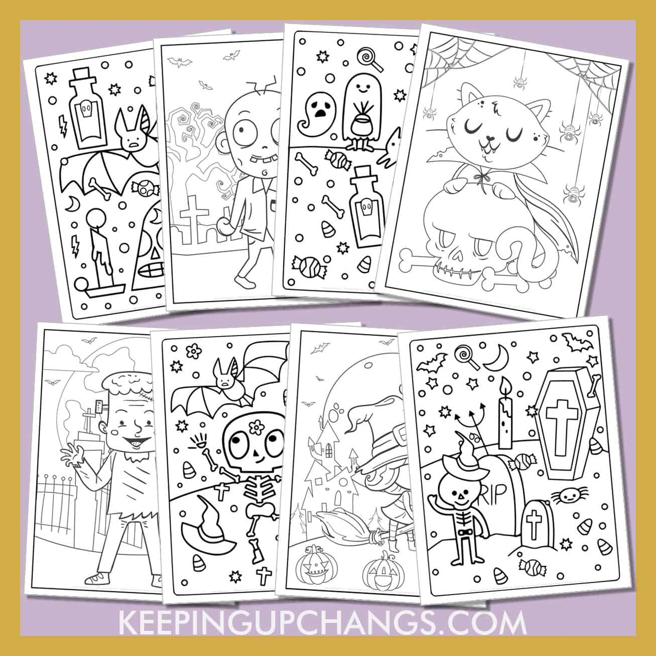 halloween for kids colouring sheets including bat, cat, witch, ghost, haunted house, zombie and more.