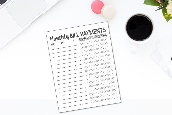 monthly bill payments printable on laptop desktop