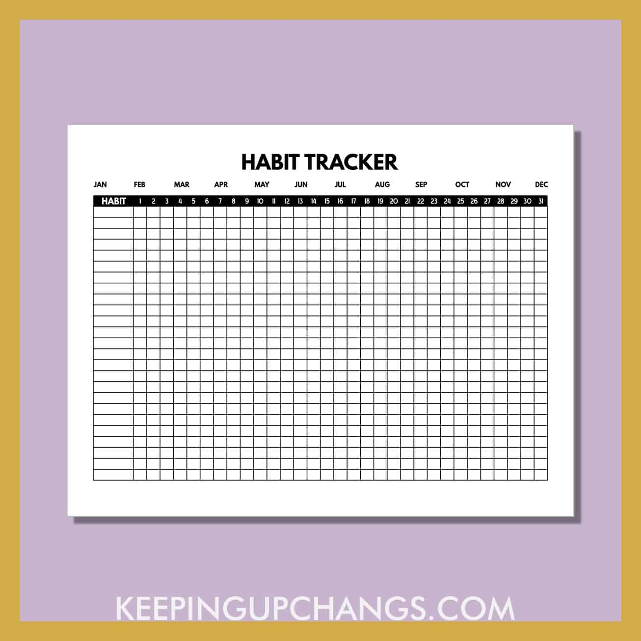 preview of free monthly habit tracker printable.