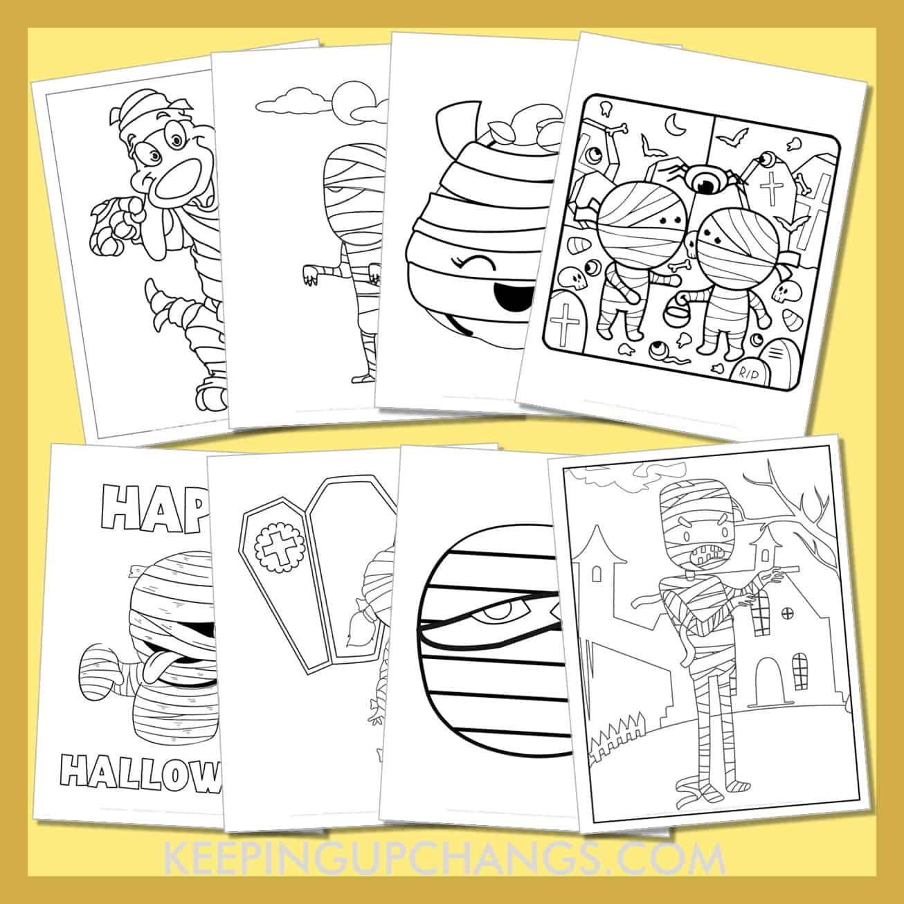 mummy colouring sheets including cute kids, happy halloween and more.