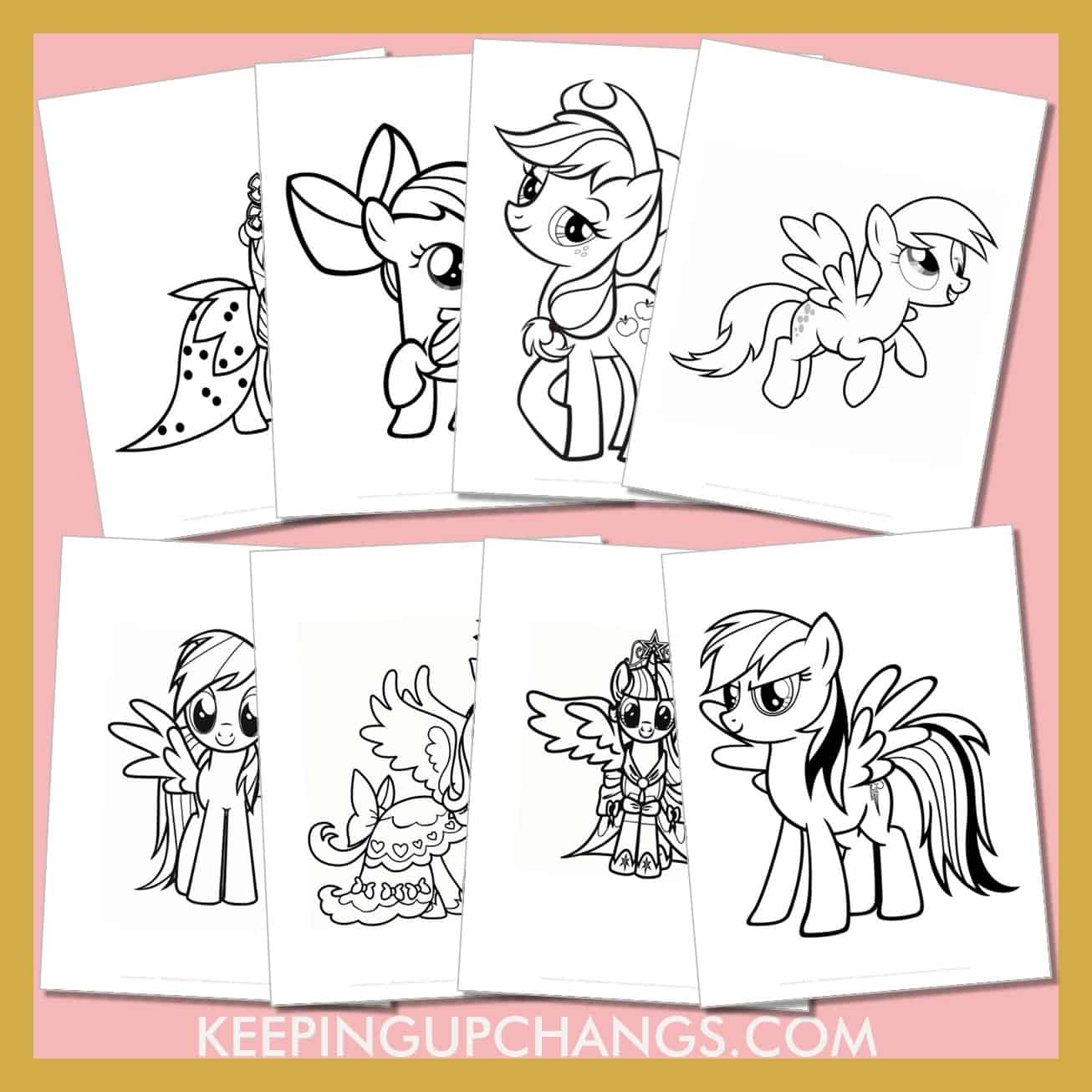 my little pony colouring sheets including rainbow dash, rarity, twilight sparkle, apple jack and more.