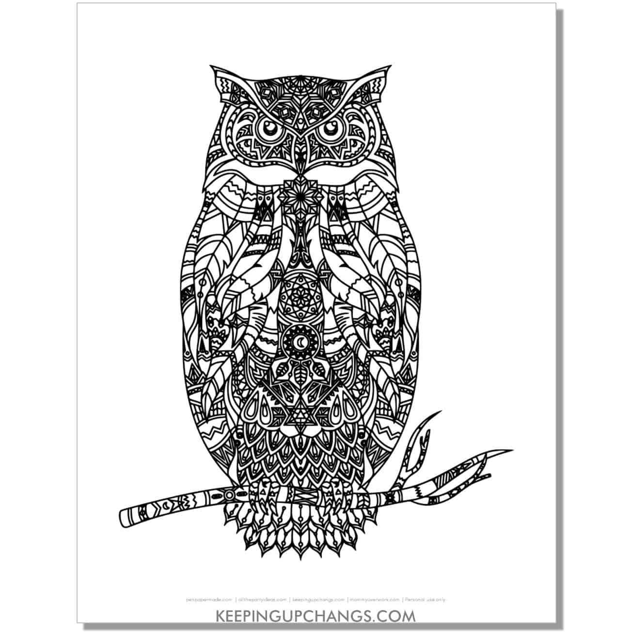 spooky owl mandala adult halloween coloring page.