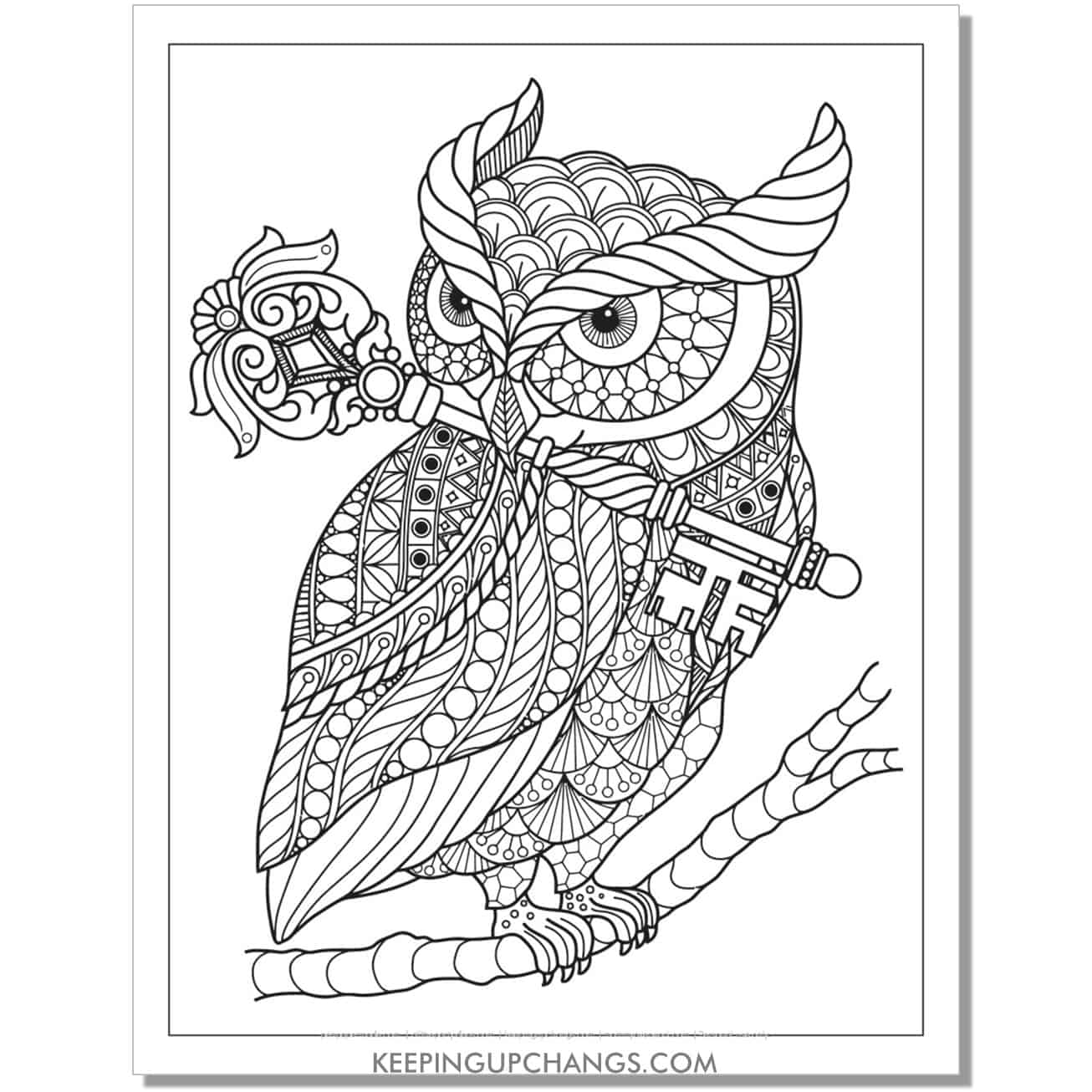 zentangle owl with key adult halloween coloring page.