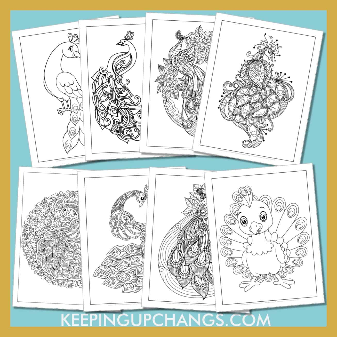 peacock colouring sheets from simple to the detailed animal mandalas.