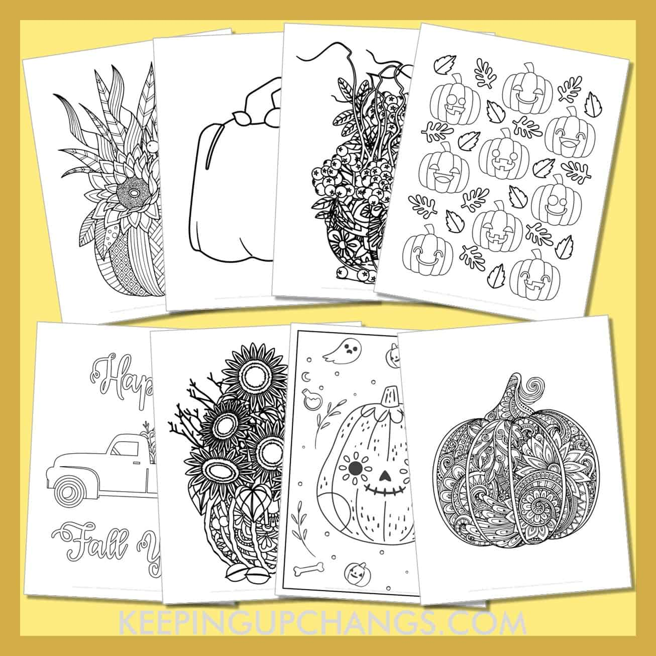 pumpkin colouring sheets including cute designs for fall, halloween, thanksgiving.