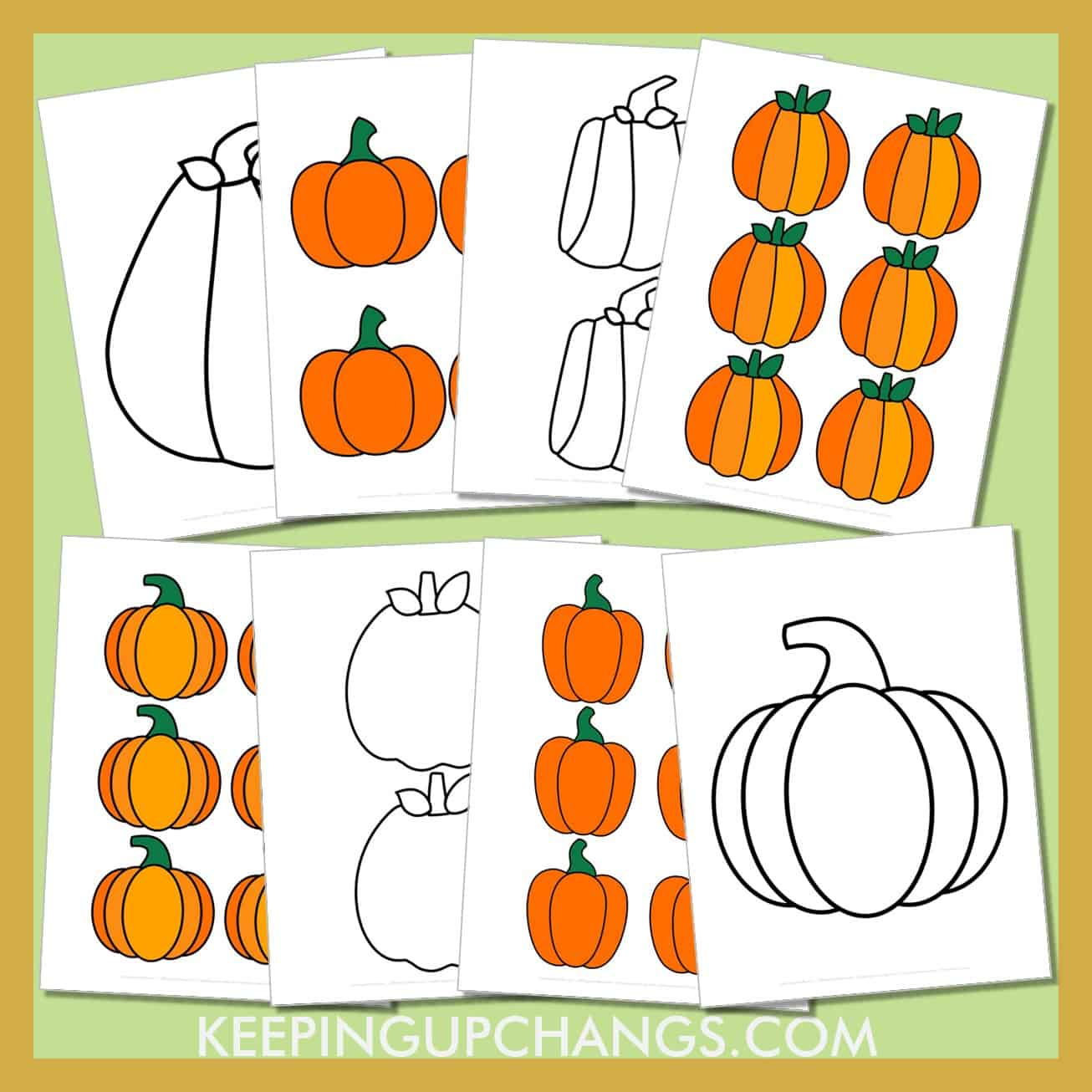 pumpkin outline template stencils for classic, round, square, and simple pumpkins in large, medium, small.