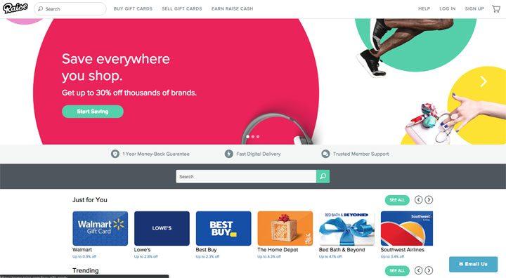 raise.com homepage