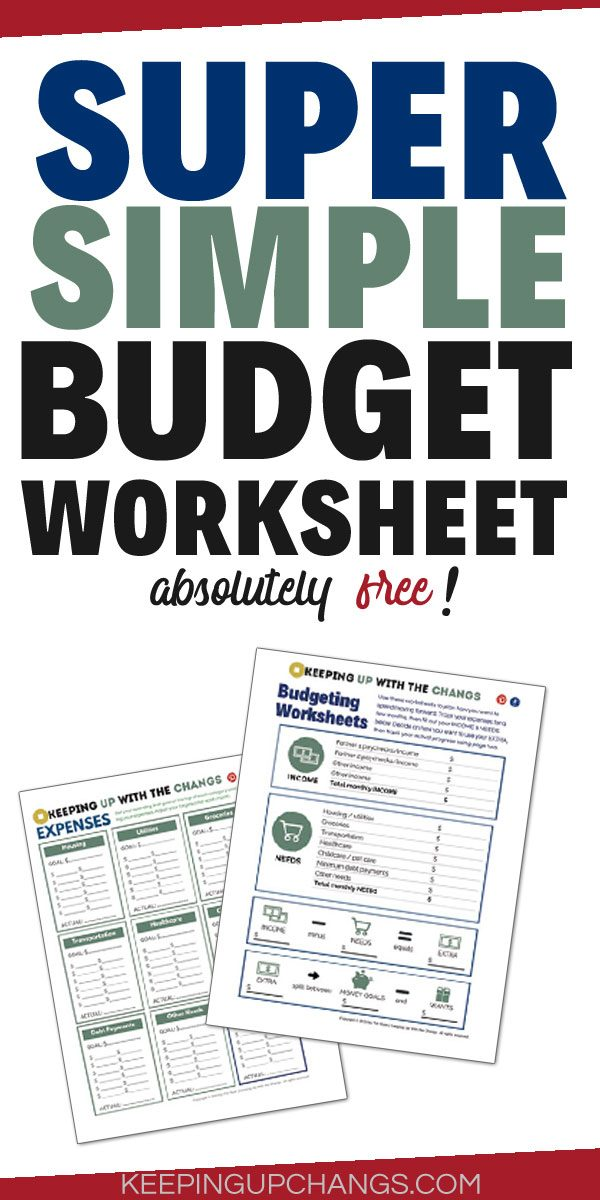 super simple budget worksheet for free only 2 pages