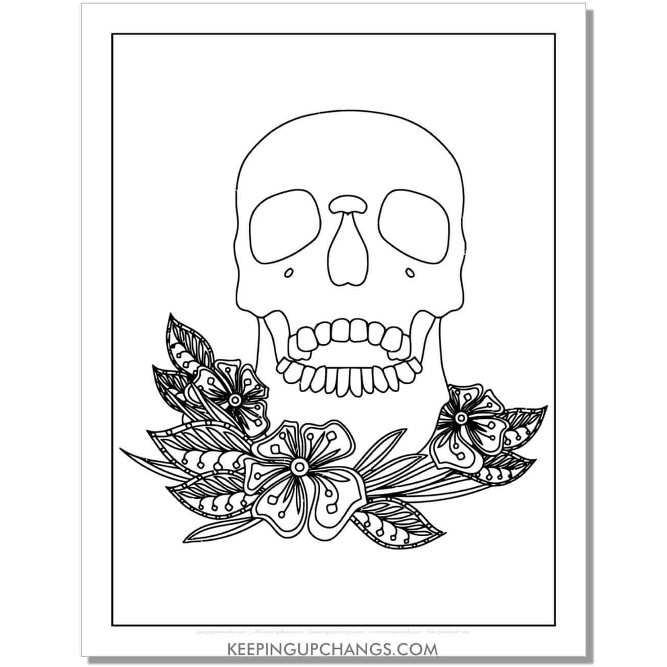 skull resting on flowers coloring page.