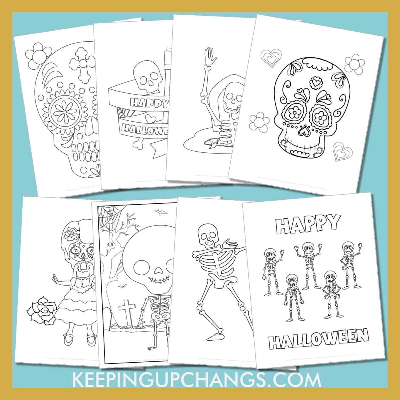 skeleton colouring sheets including realistic anatomy, cute, friendly halloween sugar skulls and bones and more.