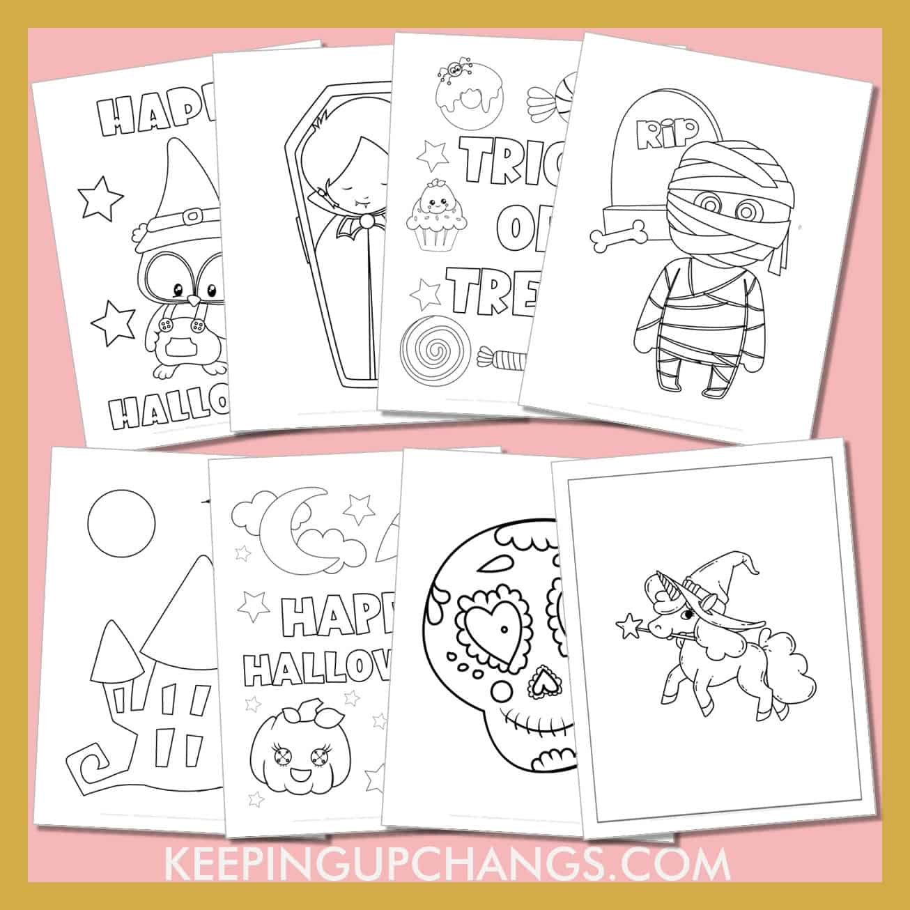 toddler halloween colouring sheets including spider, witch, bat, owl and more.