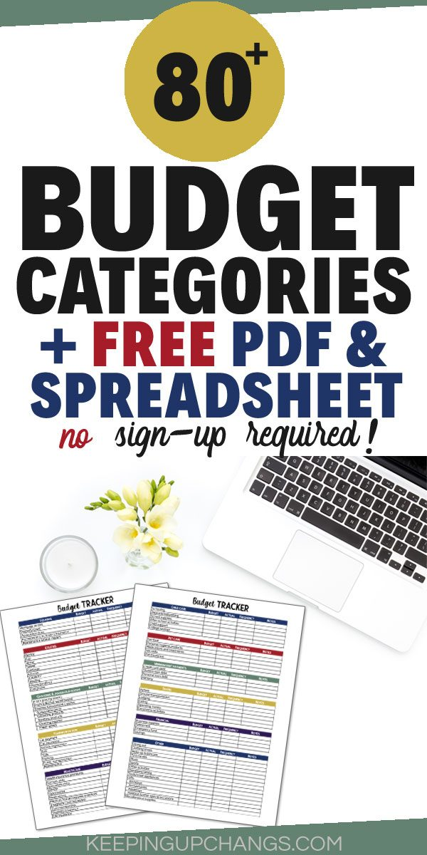budget categories with free pdf and spreadsheet