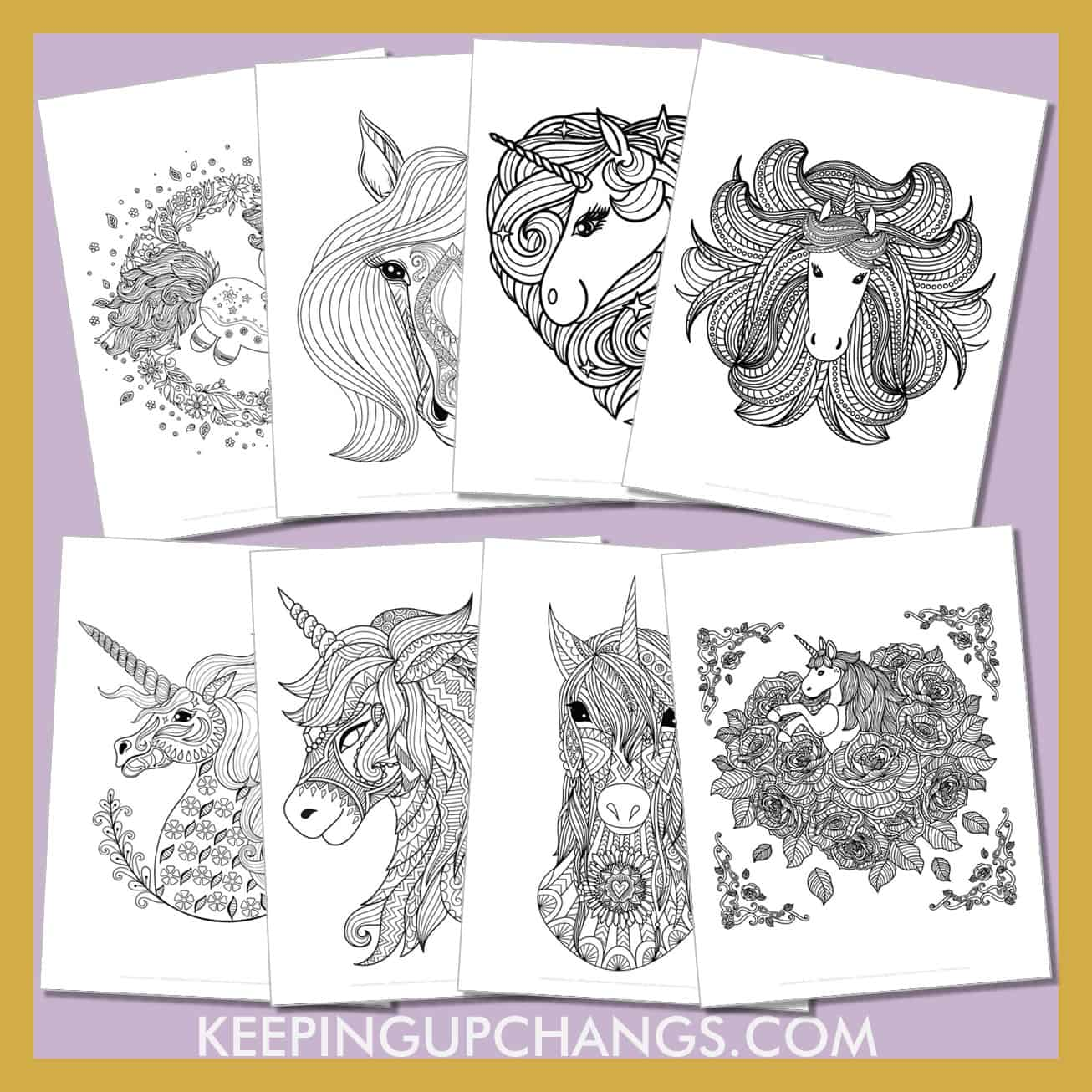 cute, realistic unicorn zentangle colouring sheets of this beautiful animal with a horn.